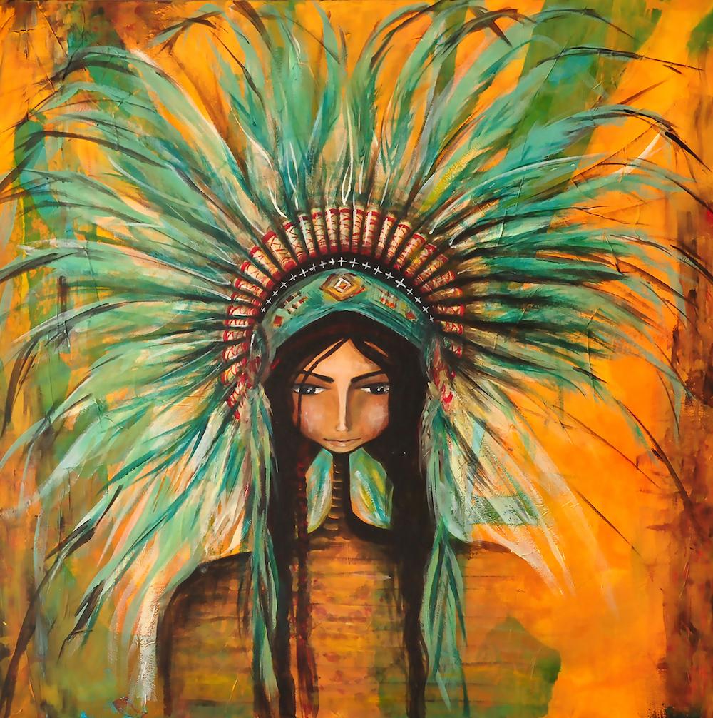 "Title:Warrior Spirit Medium:Tissue, Acrylic Size:30"" x 30"""