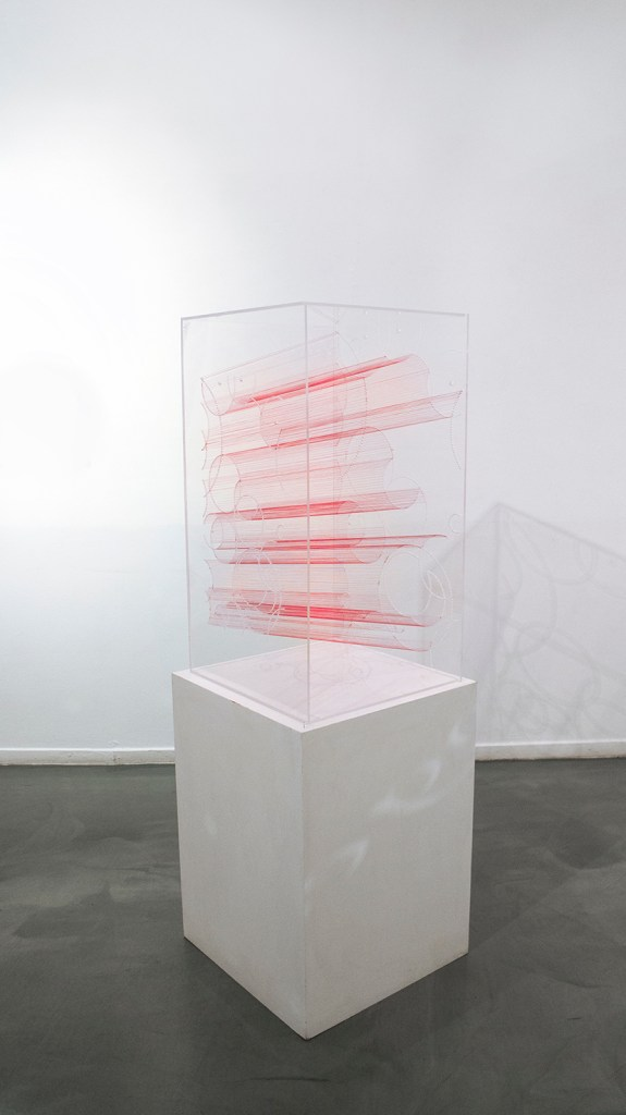 """Title:Slice of Time Medium:Plexiglass acrylic Sheets and red thread Size:17""""W x 42""""H x 18""""L"""