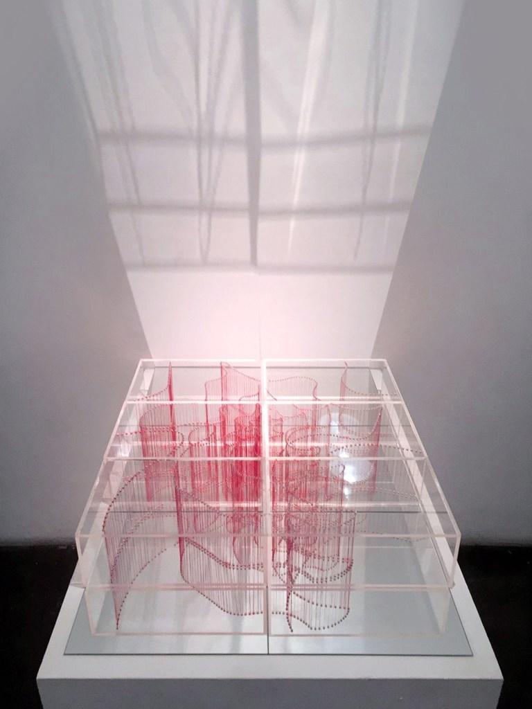 """Title:Intersection (Small) Medium:Plexiglass acrylic Sheets and red thread Size:24""""W x 4""""H x 24""""L"""