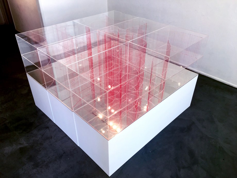 Title:Intersection (Big) Medium:	Plexiglass acrylic Sheets and red thread Size:	6ft W x 1ft H 6ft L
