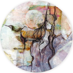 "Title: Horse Spirit Medium: Mixed Media on Sintra Size: 20 1/2"" x 20 1/2"" (in Diameter)"