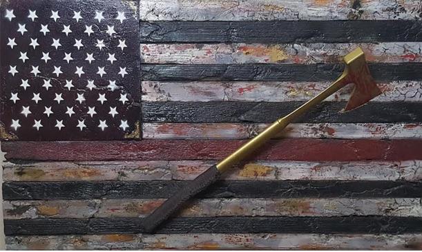 Title:Indestructible Medium:Reclaimed wood, Gold Leaf, Steel, Acrylic & Resined Size:22Hx41W