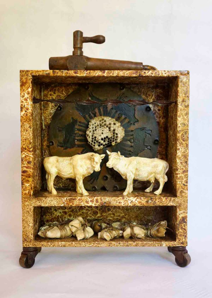 "Title:""Love Affair"" Medium:	Mixed media/Found objects Size:	13 x 12 x 4 inches"