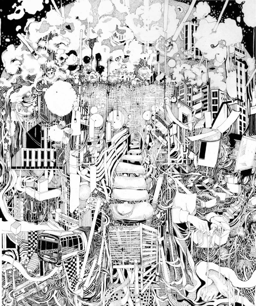 """Title:""""Chinatown"""" Medium:Pen and Ink Size:14 x 17 inches"""