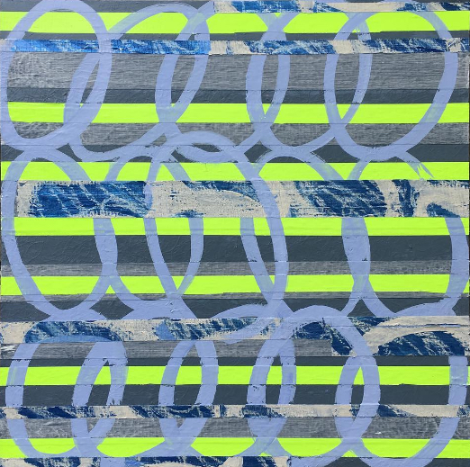 Title:Foggy Day Neon Medium:	Mixed Media Size:	20x20""