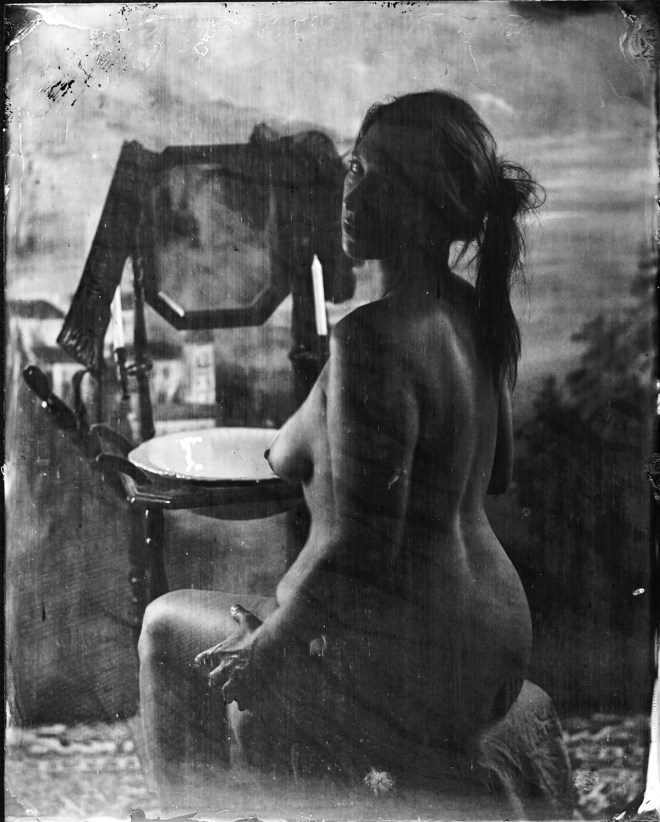 Title:Seated Woman Medium:	Wet Plate Photography Size:	8x10