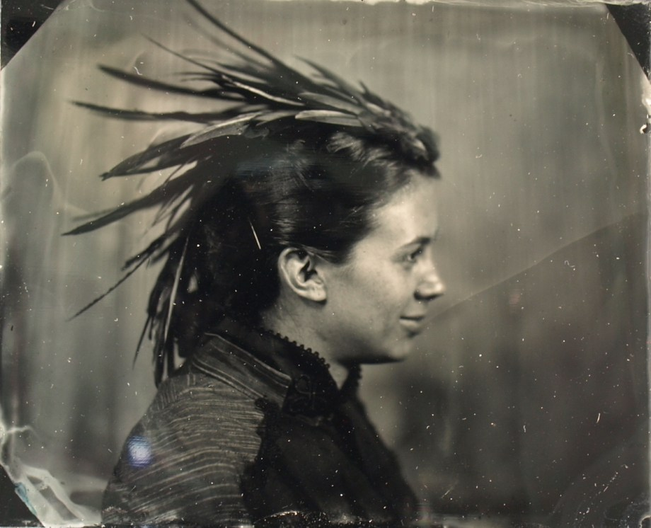 Title:Woman Looking Left Medium:	Wet Plate Photography Size:	3x4
