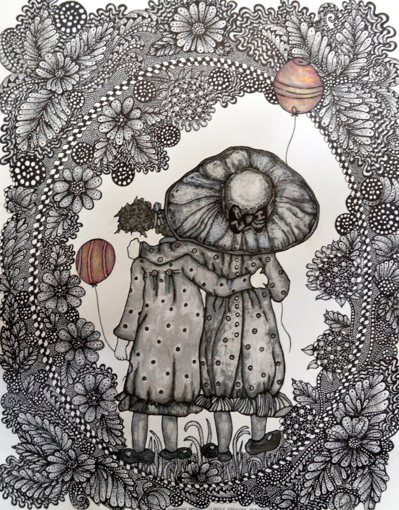 """Title:Best Friends Forever Medium:Pen and Ink Size:11""""x14"""""""