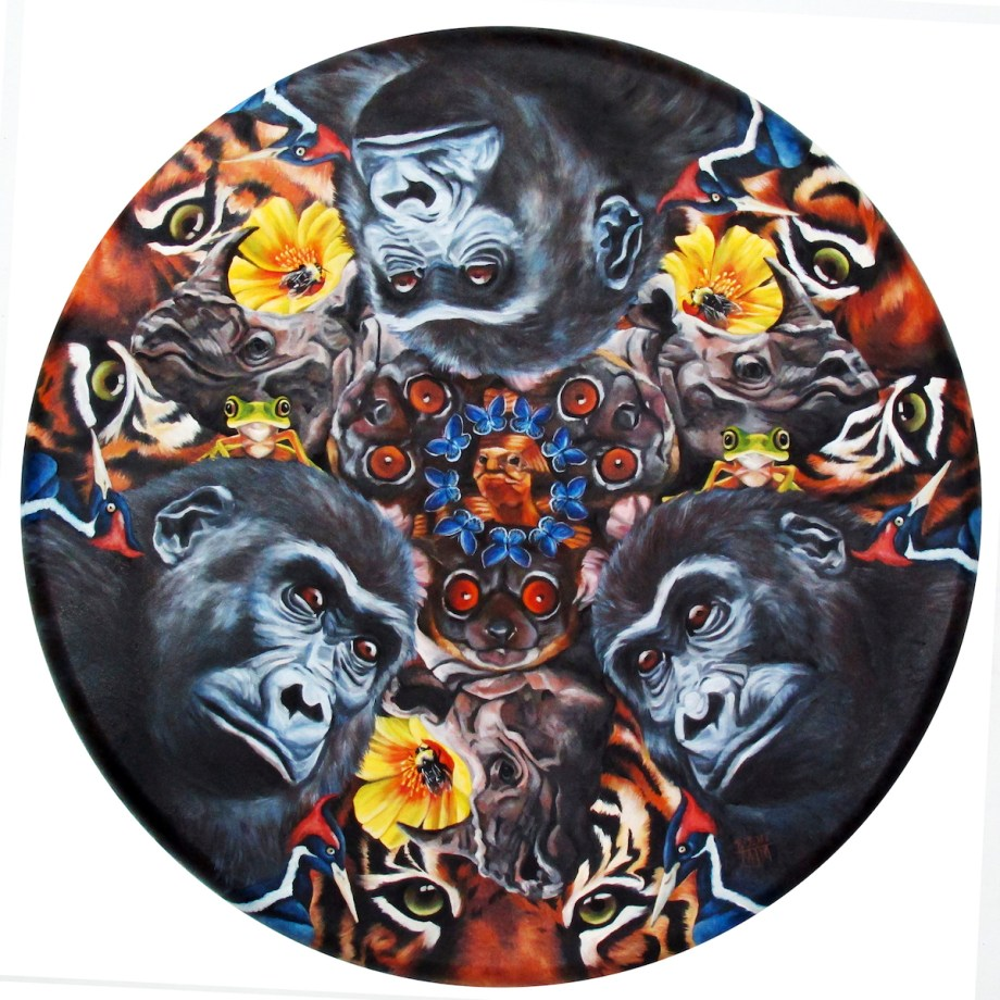 """Title:Kaleidoscopic Vision of Our Endangered World Medium:Oil Size:36"""" circular canvas"""