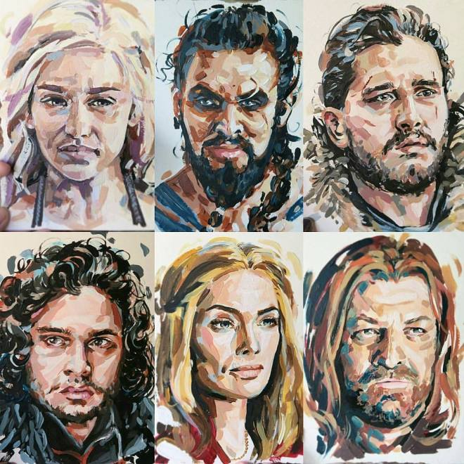 Title:Game of Thrones Fanatic Medium:Acrylic Size:10x10 inches