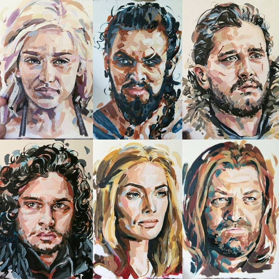 Title:Game of Thrones Fanatic Medium:	Acrylic Size:	10x10 inches