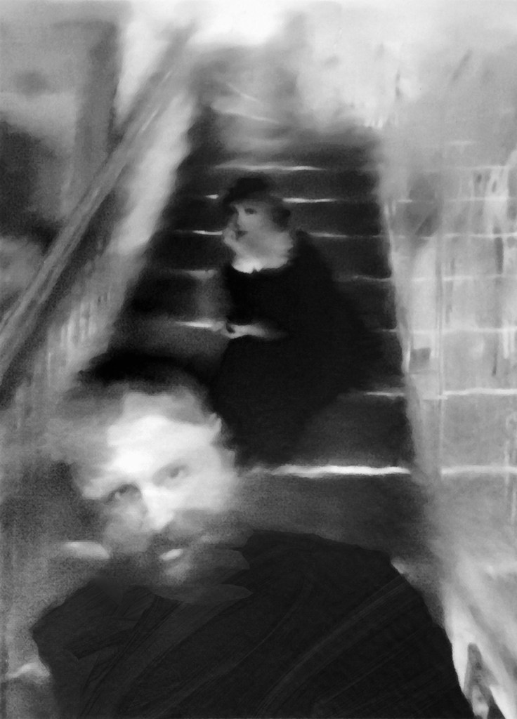 """Title:Claudette On the Stairs Medium:Solarplate (aka: Photopolymer) Etching Size:9"""" x 7"""""""