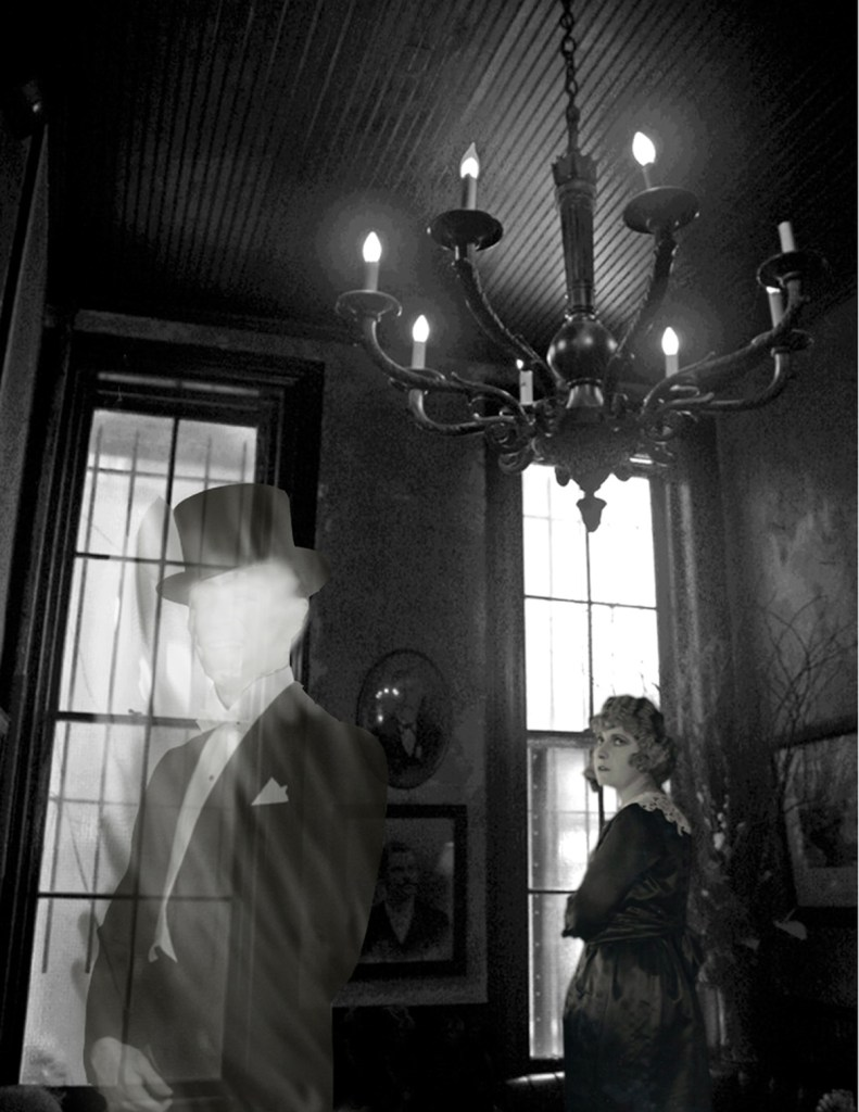 "Title:The Ghost in the Hotel Lobby Medium:	Digital Photo Collage Size:	10"" x 8"""