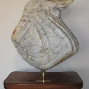 "Title Solitude Medium Alabaster stone with Maghoney wood base Size 16""x 43"" x 81/2"""