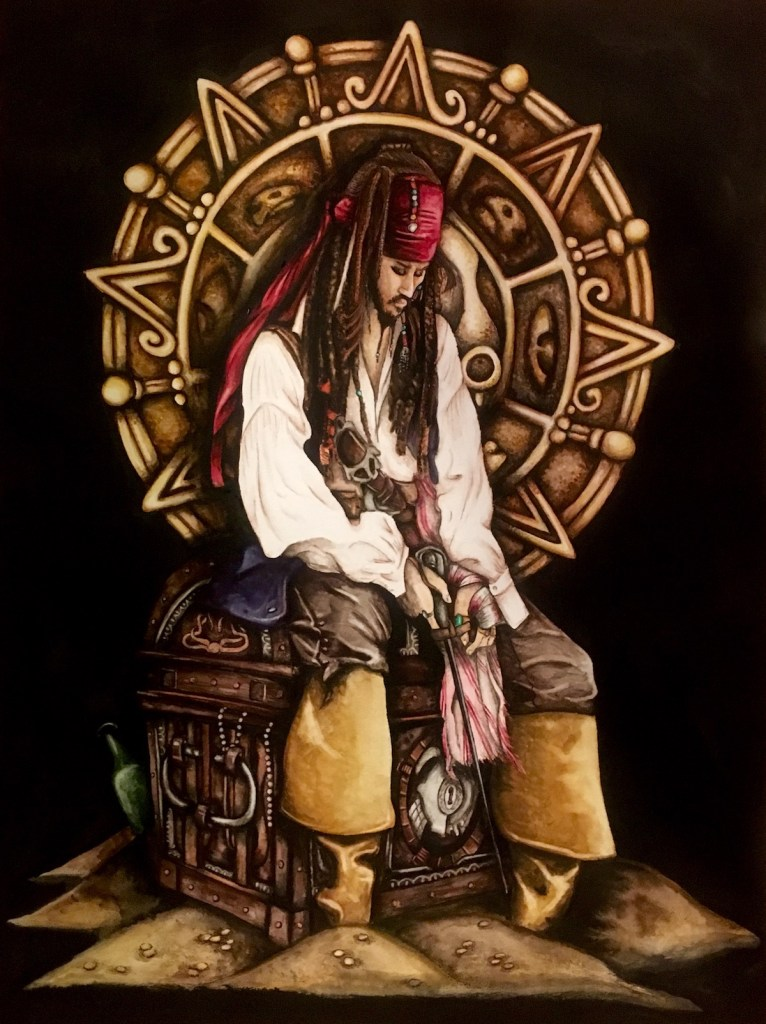 "Title Captain Jack Sparrow Medium Watercolor Size 18""x24"""