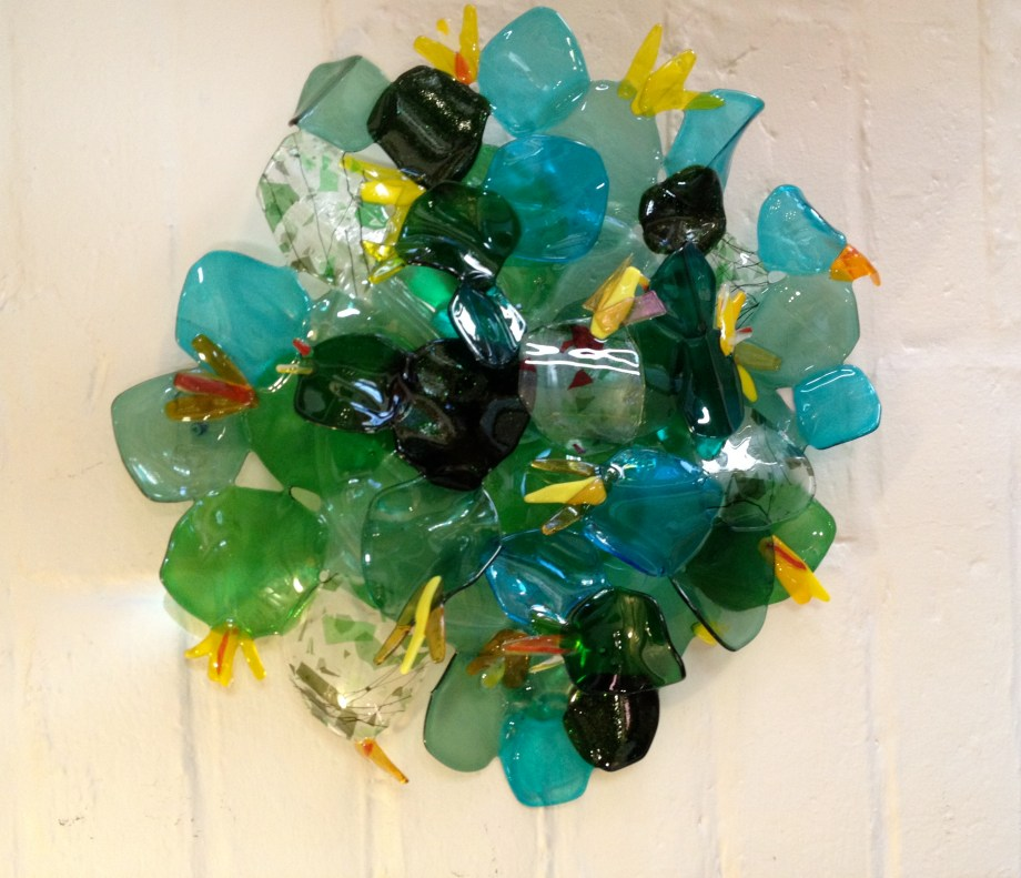 Title prickly pear Medium fused glass Size 20 by 24