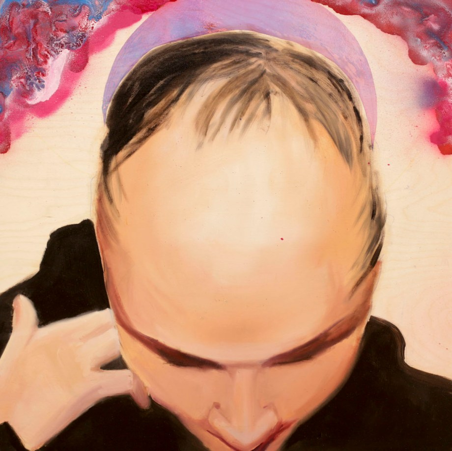 Title Alopecia Areata Medium Oil and dichroic film on wood Size 32 x 32