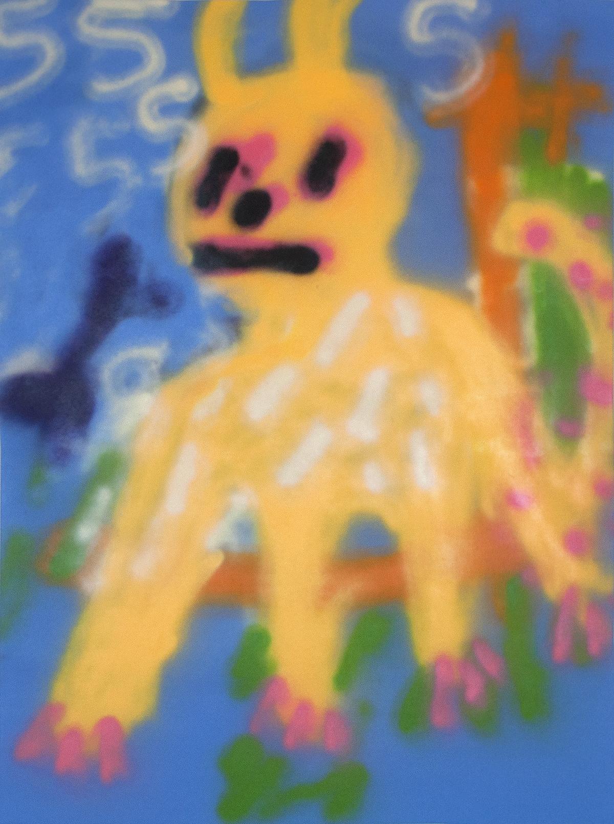"Title 555 2017 Medium Spray paint on canvas Size 40"" x 36"""