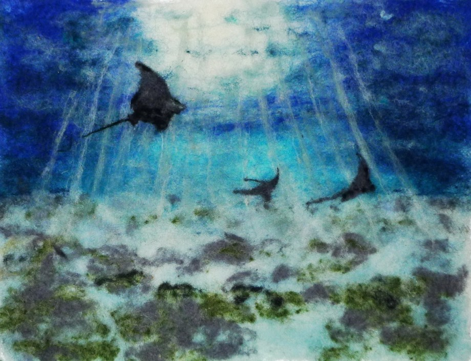 Title Dance of the Eagle Rays Medium Mixed Media Size 15 x 10