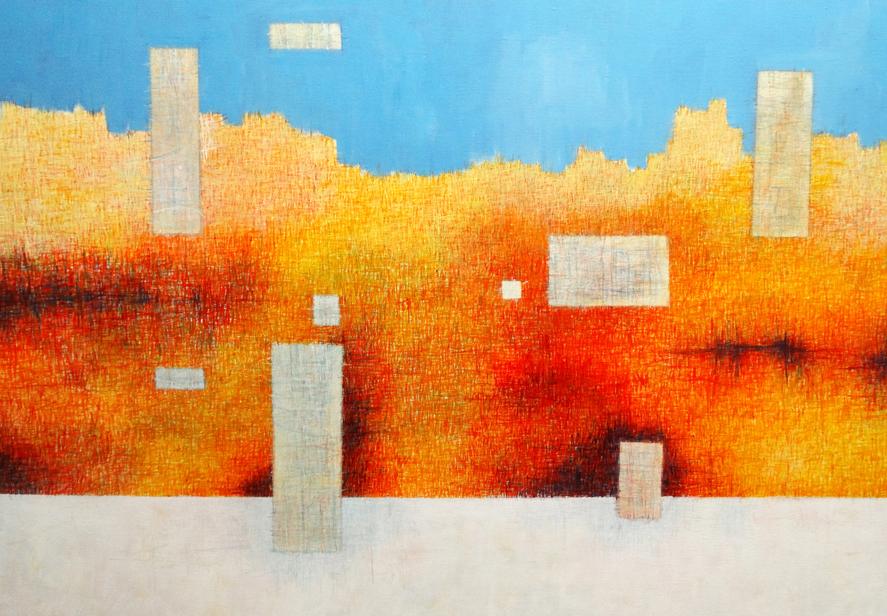 "Title Cliff Dwellers Medium Acrylic on Canvas Size 30"" xx 40"""