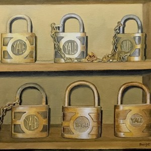 "Title Yale Padlocks Medium Oil Size 22""x26"""