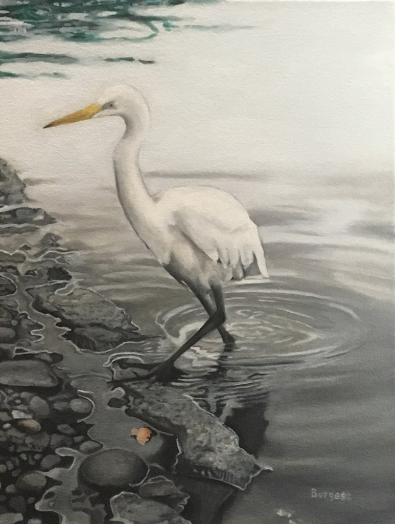 """Title Wader in the Harlem Meer Medium Oil Size 24""""x18"""""""