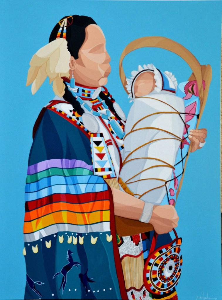 Title okâwîmâw (ᐅᑳᐄᐧᒫᐤ mother in Cree) Medium Acrylic Size 30''x40''
