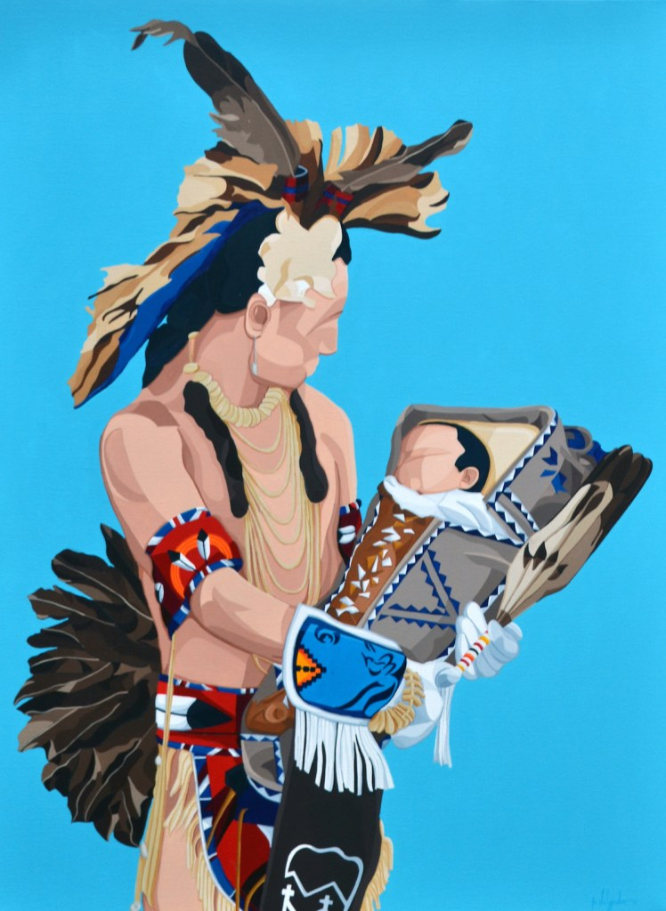Title ohtâwîmâw (ᐅᐦᑖᐄᐧᒫᐤ father in Cree) Medium Acrylic Size 30''x40''