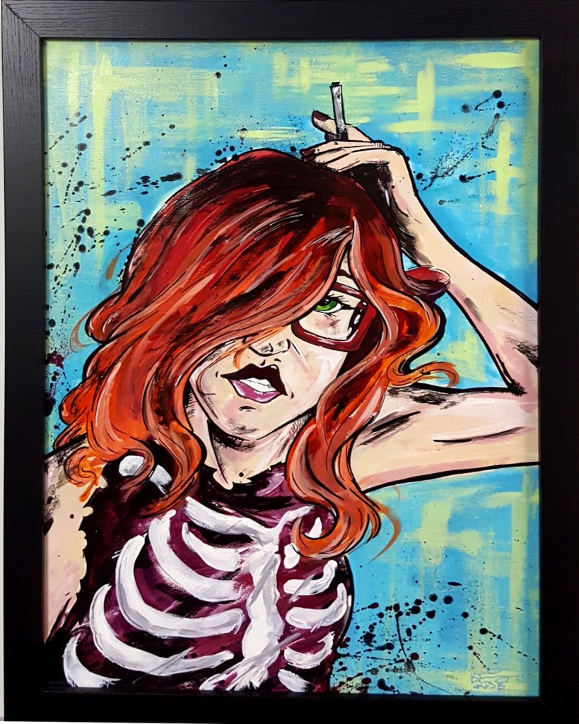 "Title Wild Child Medium Ink and Paint on Canvas Size 18"" x 24"" w/Frame"