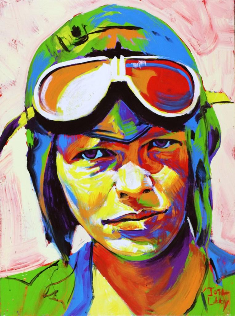 """Title Amelia Earhart Medium Acrylic Size 30"""" x 40"""""""