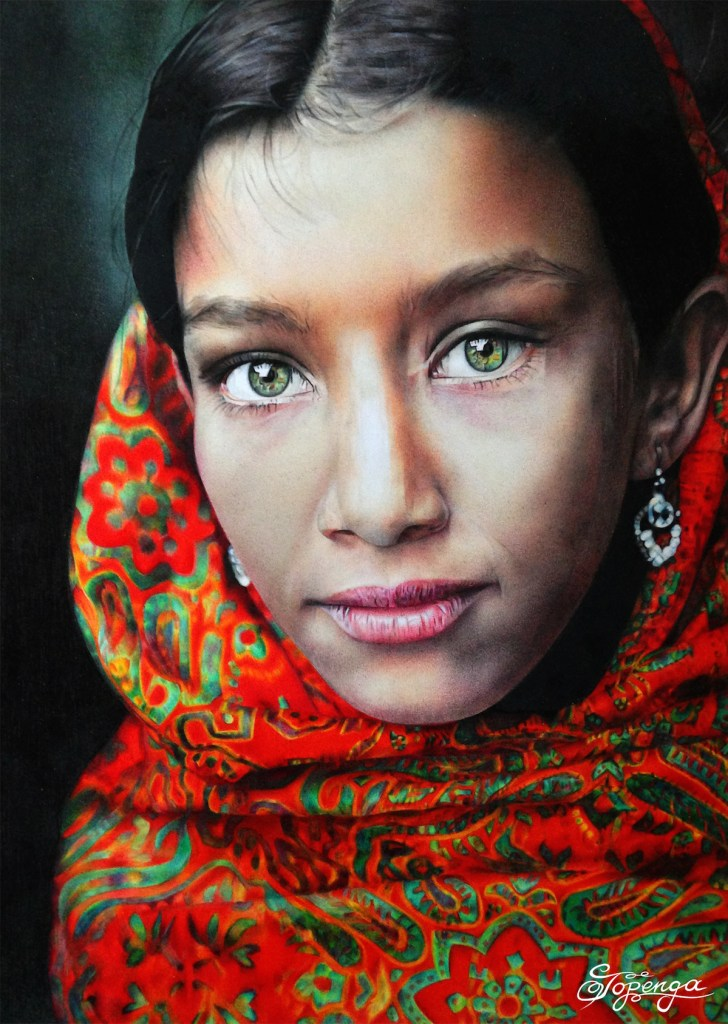 Title Girl with Green Eyes and Red Headscarf Medium Coloured Pencil Size 21 x 29,7 cm