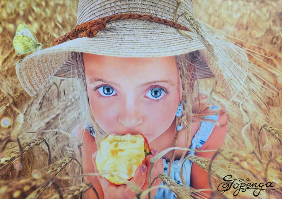 Title The Farmer's Daughter Medium Coloured Pencil Size 29,7 x 42 cm