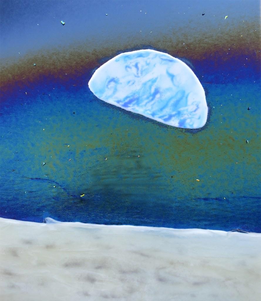 Title EARTH RISE Medium fused glass Size 18 x 21