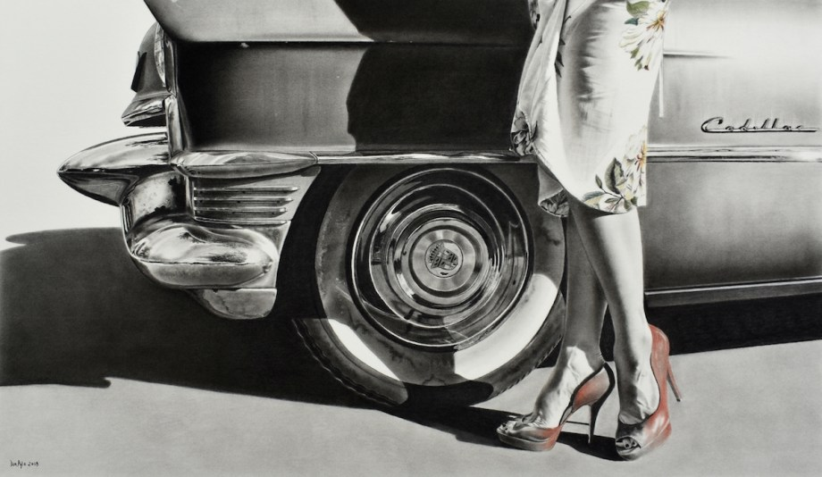 "Title Heels and Wheels Medium charcoal with pastel Size 22"" x 39"""