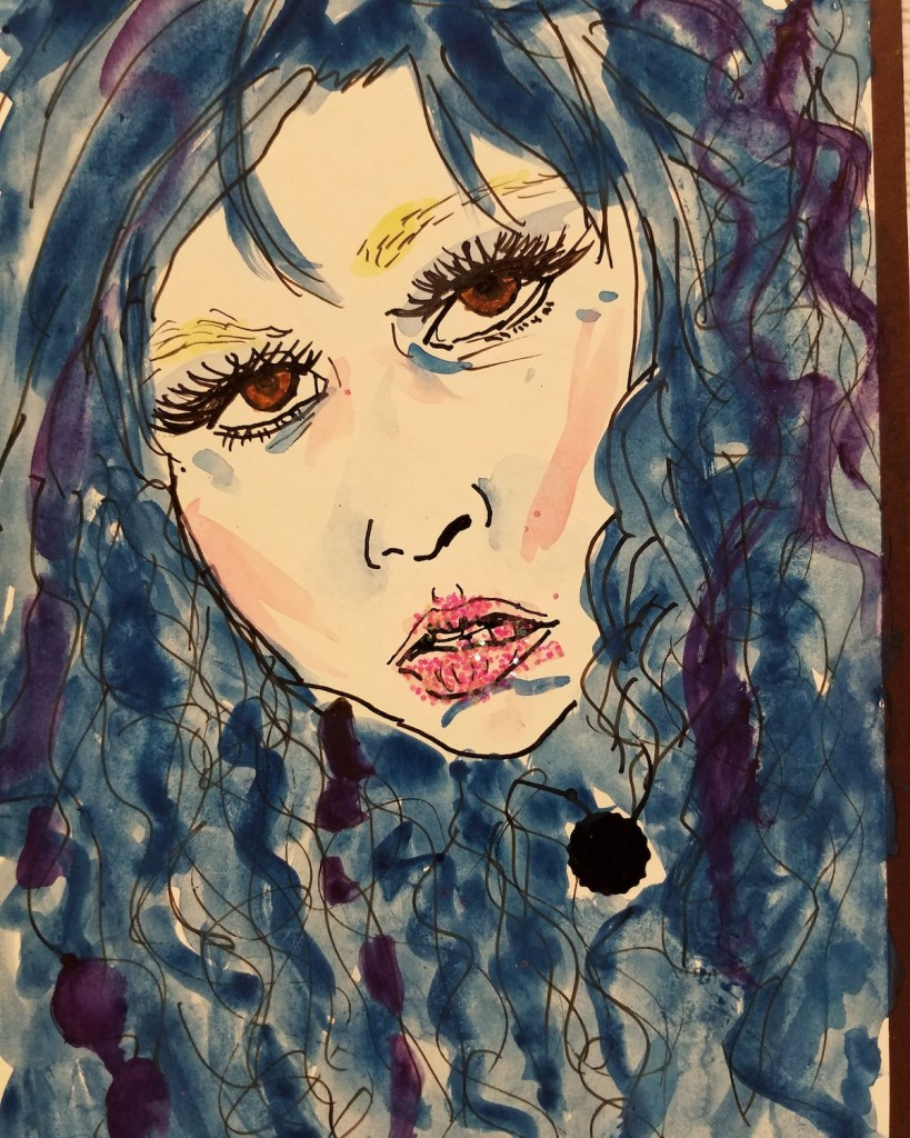 """Title """"Blue from you"""" Medium Watercolor, glitter, Indian ink Size 9 1/2""""×6"""""""