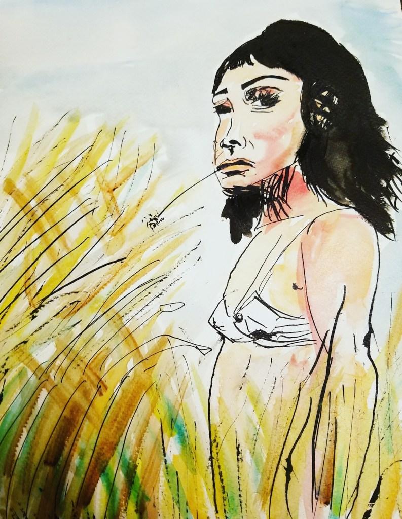 "Title ""Wild frontier"" Medium Watercolor, Indian ink Size 11""×15"""