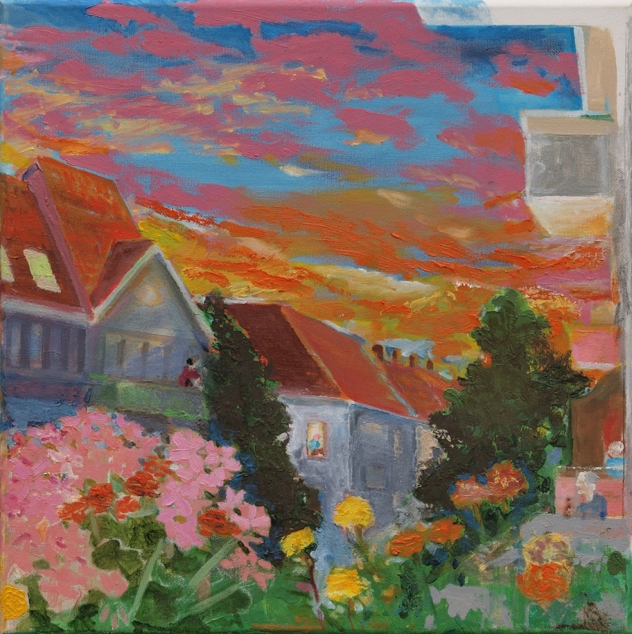 Title A sunset in Berlin Medium Oil on canvas Size 40 x 40 x 2 cm