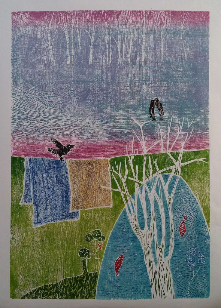 Title Footsteps of the Spring Medium Woodcut Print Size 49*70 cm