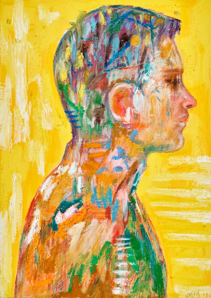 Title yellow Medium acrylic, oil, oilsticks, pastel on paper Size 24x30cm