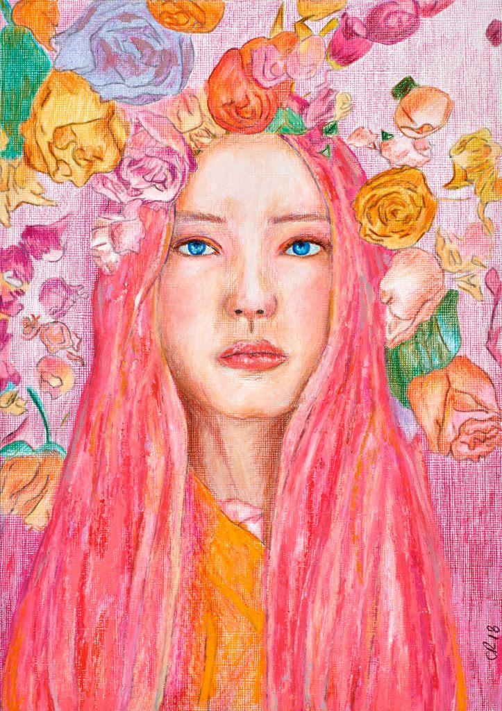Title rose Medium acrylic, oil, oilsticks, pastel on paper Size 24x30cm