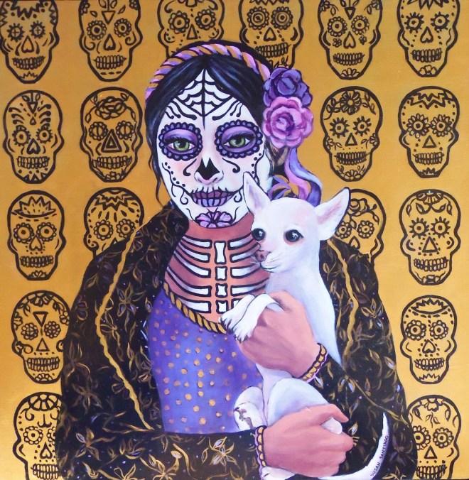 """Title Dia de Los Muertos Chica con Su Perra Medium Acrylic on wood panel Size 24 """" x 24"""""""