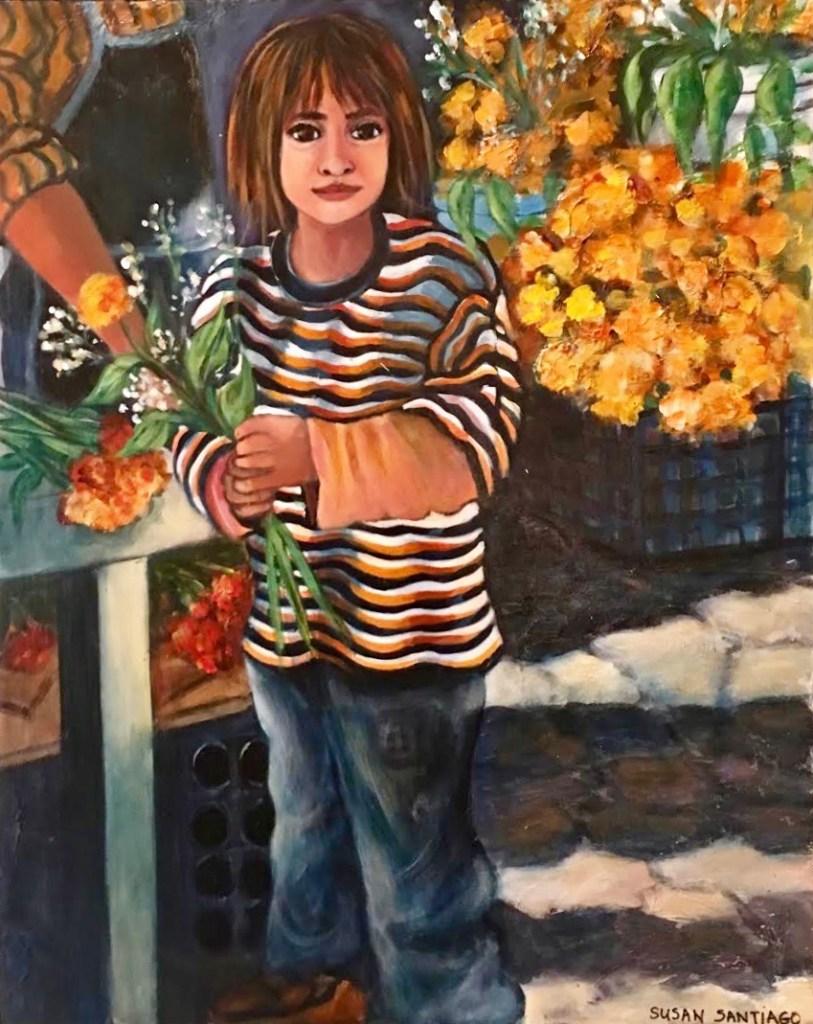"""Title Dia de Los Muertos La La Vendadora Medium Acrylic on wood Panel Size 20"""" x 24"""""""