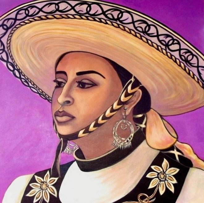 "Title La Vaquera Medium Acrylic on Canvas Size 24 "" x 24"""