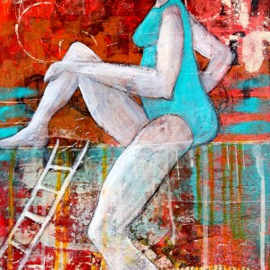 Title Ghost in the Turquoise Suit Medium Mixed Media Size 16x12