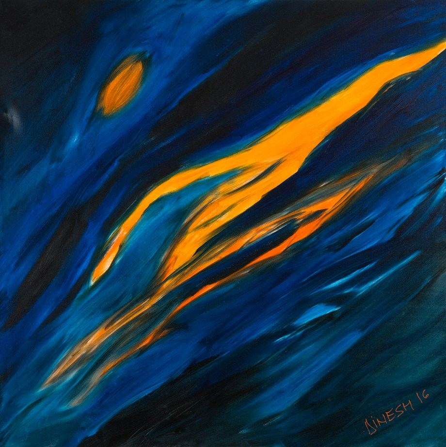 "Title motion in the night sky Medium oil Size 48""x48"""