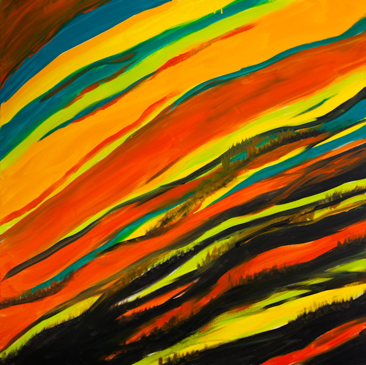 """Title motion in the sky Medium oil Size 48""""x48"""""""