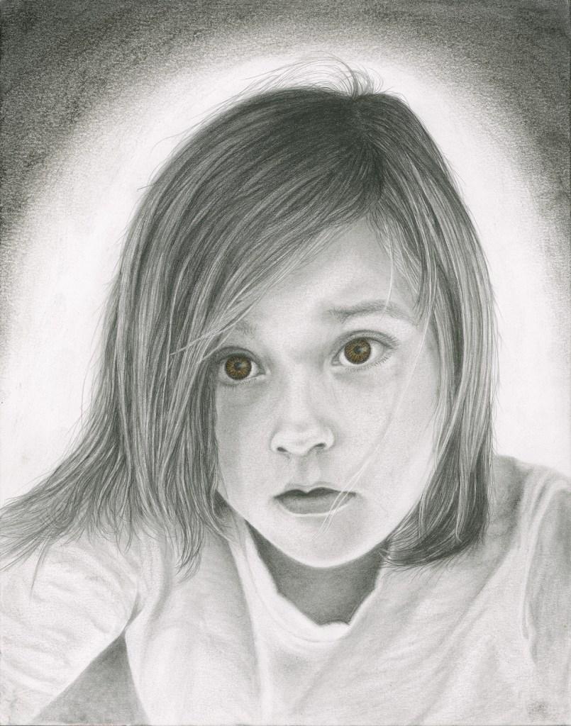 Title Little Girl Medium Pencil Size 11 x 14