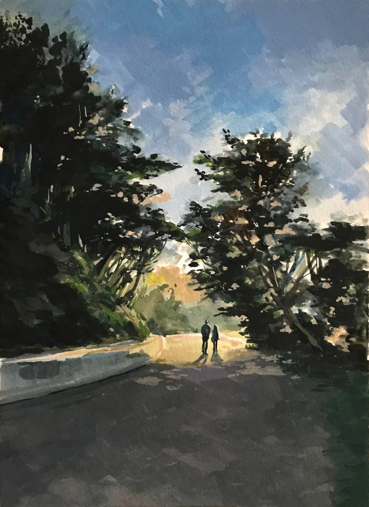 Title Sunset walk Medium Watercolor Size 9x12