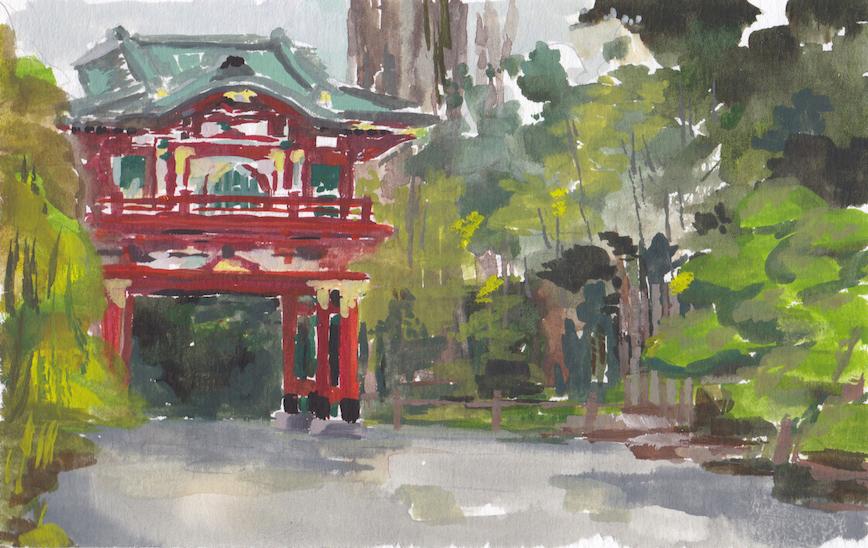 Title Japanese Tea Garden Medium Watercolor Size 4.2x6.5