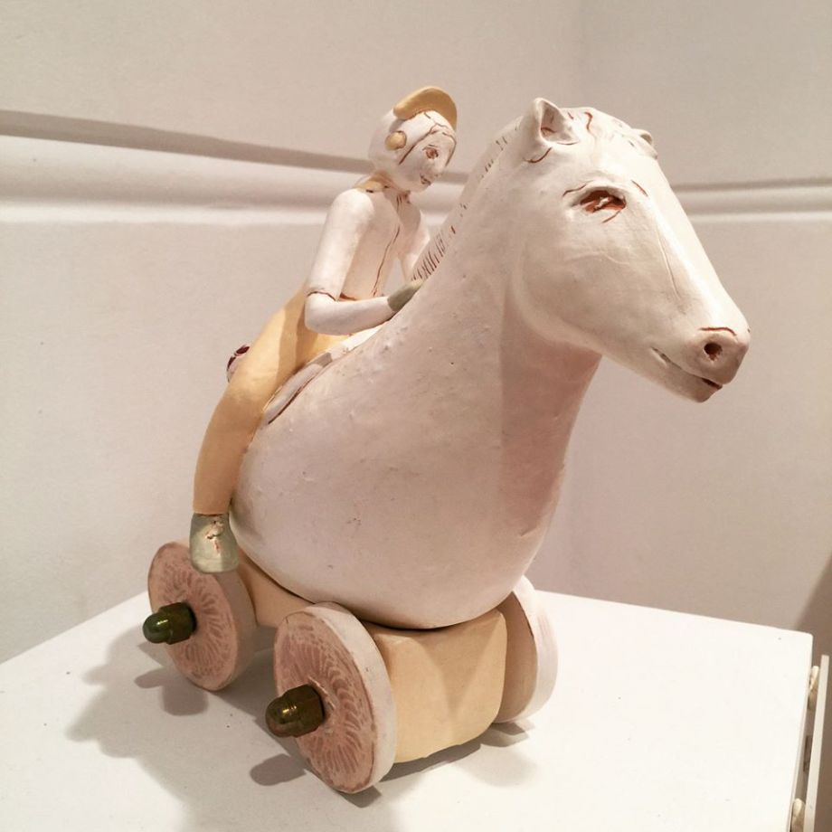 Title Traveler on Horse 2018 Medium Ceramic and metals Size 22h x 16w x 17d